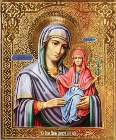 Икона святая Анна с Богородицей на дереве на левкасе мастерская Иконный Дом