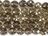 Нить бусин из кварца дымчатого, фигурные, 12 мм (шар, граненые)