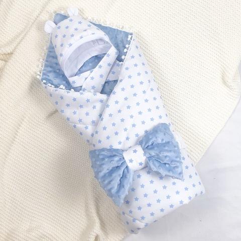 СуперМамкет. Конверт-одеяло с бантом и шапочкой Звездочки голубой