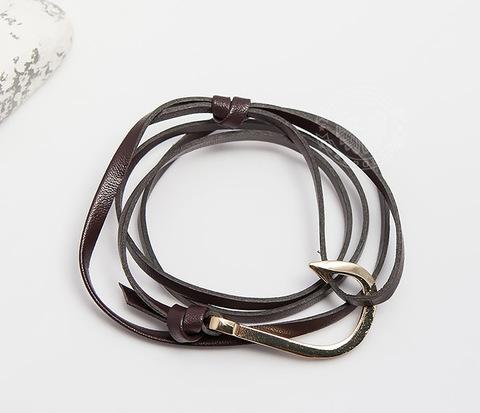 SL0224-BRN Мужской кожаный браслет Spikes с металлическим крюком