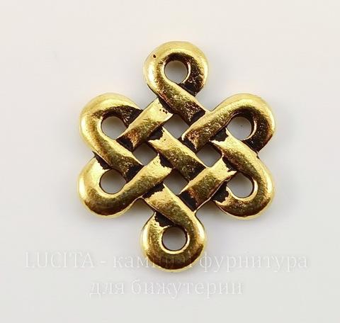 """Коннектор TierraCast """"Узел"""" (1-1) 17х15 мм (цвет-античное золото)"""