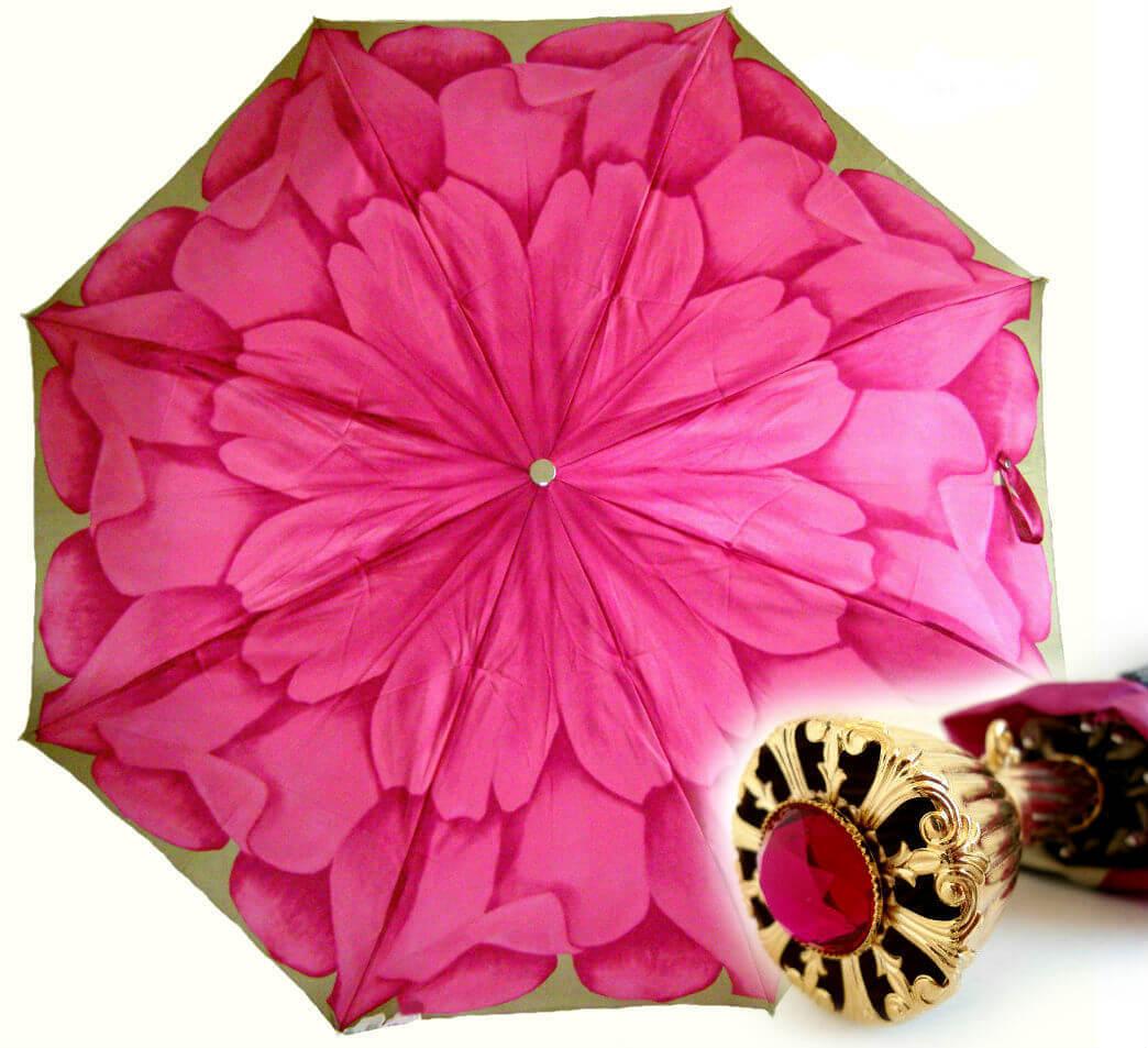 Зонт женский складной Pasotti 257-P11 Peonia gold