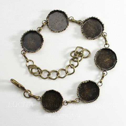 Основа для браслета с 6 сеттингами для кабошона 15 мм, 27 см (цвет - античная бронза)