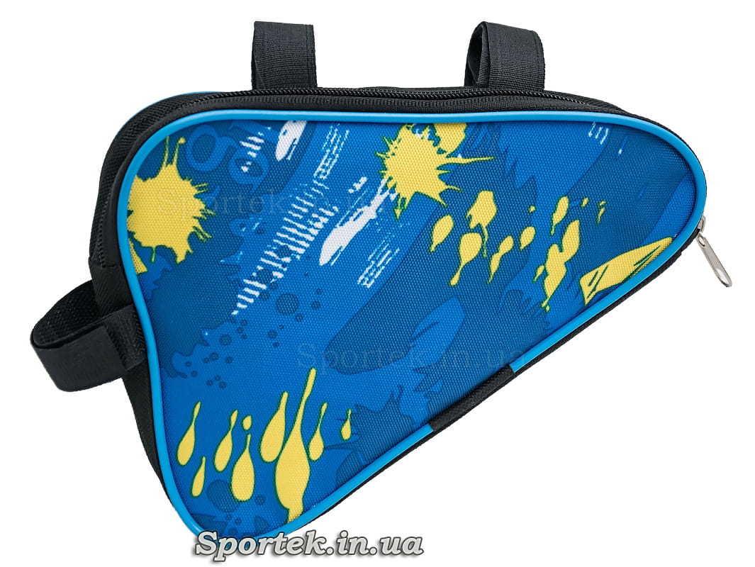 Сумка велосипедная треугольная под раму в сине-желтых тонах