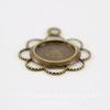 """Сеттинг - основа - подвеска """"Ажурный"""" для камеи или кабошона 7 мм (оксид латуни)"""