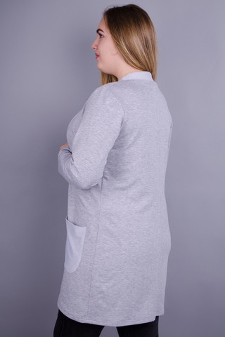 Кардо. Стильный женский кардиган больших размеров. Серый.