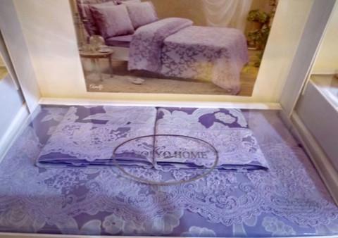 Постельное белье AMELFI лиловый жаккард с кружевом deluxe TIVOLYO HOME Турция