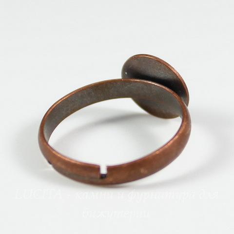 Основа для кольца с круглой площадкой 10 мм (цвет - античная медь)
