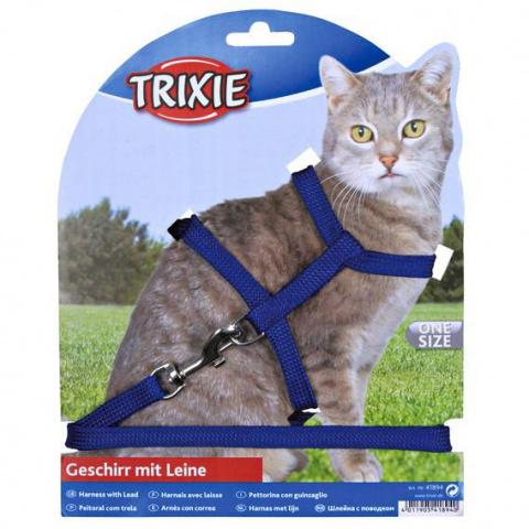 Trixie шлейка для кошек 35см однотонный нейлон