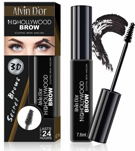Alvin D`or Тушь д/бровей  HD Hollywood Brow (тон 01B dark brown) МВ-1