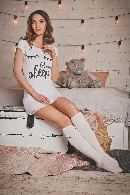 Белая домашняя туника с принтом (Ночные сорочки)