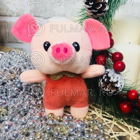 Поросёнок брелок Хрюня Ушастик золотистый воротничок символ 2019 года свинья (охра)