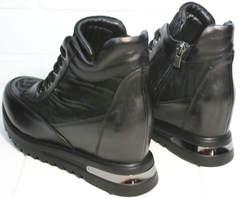Сникерсы ботильоны кожаные женские Evromoda 965 Black