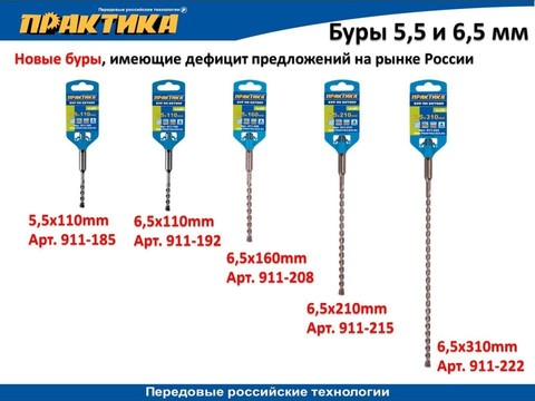Бур SDS-plus ПРАКТИКА  6,5 х 110 мм серия