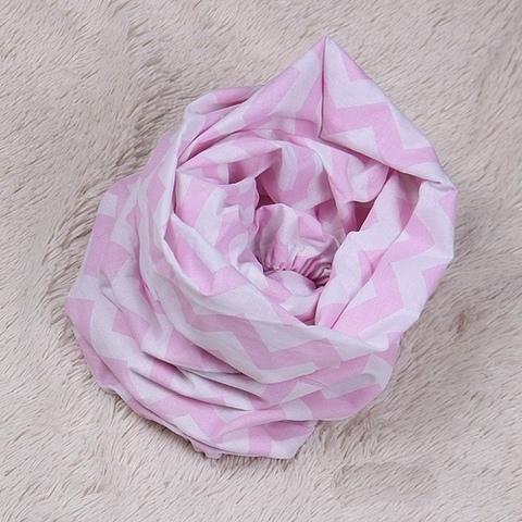 Стандартная простынь на резинке Зигзаги (розовая)