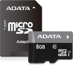 Карта памяти A-Data microSDHC 8Gb Class 10 + SD адаптер