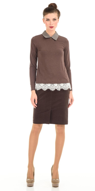 Юбка Б001-154 - Прямая вельветовая юбка. Спереди и сзади накладные карманы и шлицы. Юбка превосходно сочетается со многими предметами гардероба, позволяя создавать разные образы