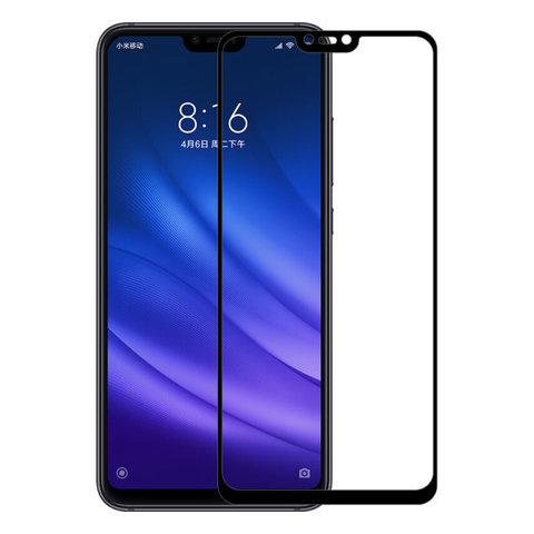 Стекло защитное 2D для Xiaomi Mi 8 (Черное)