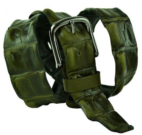 Мужской кожаный хаки ремень под крокодила 40ns-066