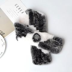 Вязаный меховой шарф-воротник (кролик) бело-серый