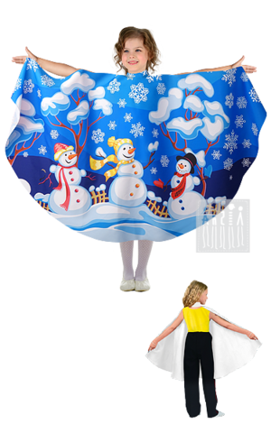 Фото Живые декорации Полупончо Зима - Снеговики рисунок Карнавальные костюмы времена года - популярные образы детских утренников и досугов. В этом разделе представлены разнообразные модели времен года и явлений природы.