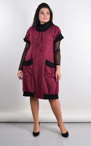 Элла. Стильное платье плюс сайз. Бордо.