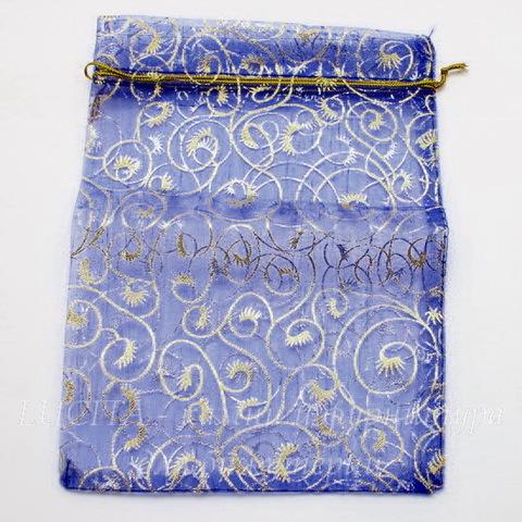 """Подарочный мешочек из органзы """"Золотые узоры"""" синий, 20х15 см"""