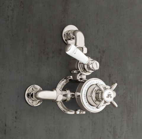 1900 Classic Wall-Mount Godolphin Dual-Control Exposed Thermostatic Mixing Valve - White