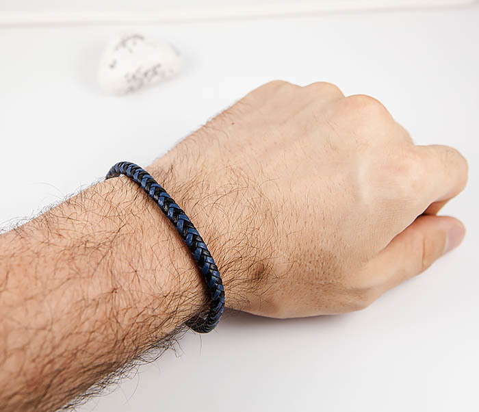 BM529-3 Плетеный мужской браслет из черной и синей кожи фото 07