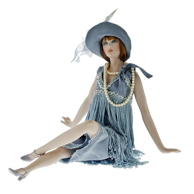 Кукла фарфоровая коллекционная Marigio Luisa 42 см в голубом