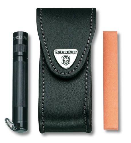 Чехол кожаный Victorinox, черный с застежкой Velkro для Swiss Army Knives or EcoLine 91 мм