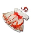 Платье праздничное - Белый / красный. Одежда для кукол, пупсов и мягких игрушек.