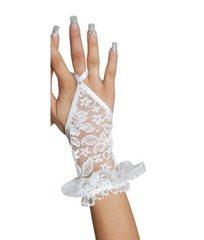 Ажурные короткие перчатки с открытой ладонью белые