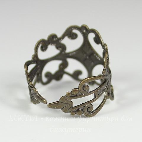 Основа для кольца филигранная (цвет - античная бронза)