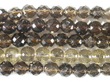 Нить бусин из кварца дымчатого, фигурные, 8 мм (шар, граненые)