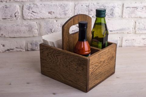 Oak Napkin&Spice Holder 125mm