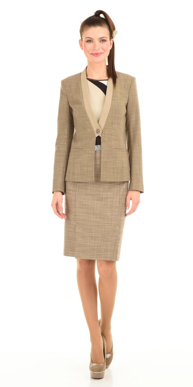 Юбка Б003-103 - Классическая юбка пастельно-бежевого оттенка для создания спокойных и деловых образов. Сечетайте с блузами и жакетами из той же цветовой гаммы для создания гармоничных и элегантных образов.