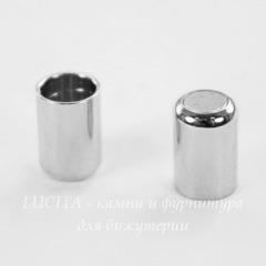 Замок для шнура 5 мм магнитный из 2х частей, 18х6 мм (цвет - платина)