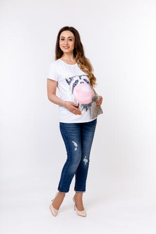 Футболка для беременных 10525 белый/принт енот