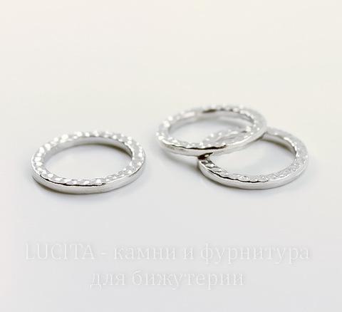 "Коннектор - кольцо TierraCast ""Hammertone"" 19 мм (цвет-платина)"