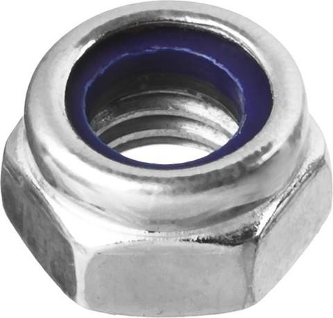 Гайка DIN 985 с нейлоновым кольцом, M10, 5 кг, кл. пр. 6, оцинкованная, ЗУБР