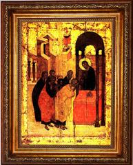 Преподание хлеба апостолам (Причащение хлебом). Икона на холсте.