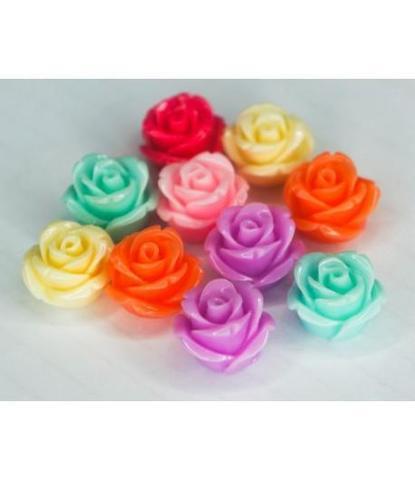 180 Стразы цветочки разноцветные 10 шт