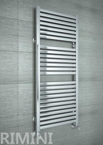Rimini E - дизайн полотенцесушитель с прямоугольными горизонталями цвета хром.