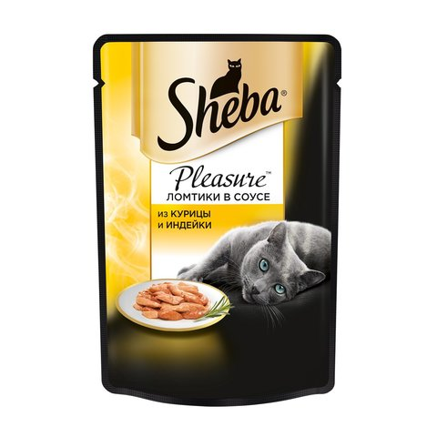 Sheba Pleasure пауч для кошек ломтики в соусе (курица и индейка) 85 г