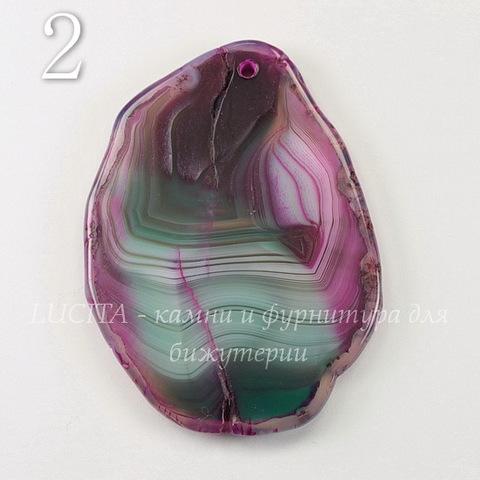 Подвеска Срез Агата (тониров)(цвет - зеленый с фиолетовым) 62-74 мм (№2 (64х48 мм)(ЦАРАПИНА))