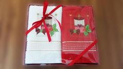 Набор махровых салфеток Новый год СВЕЧА 2пр 45х70  La Villa Турция
