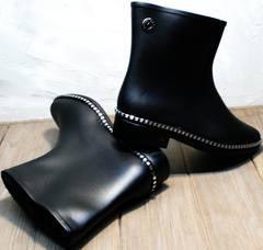 Короткие резиновые сапоги женские Hello Rain Story 1019 Black