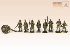 Набор солдатиков Русская Императорская Армия (8 шт.) с пушкой (1854-1856)