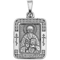 Святой Василий. Нательная икона посеребренная.